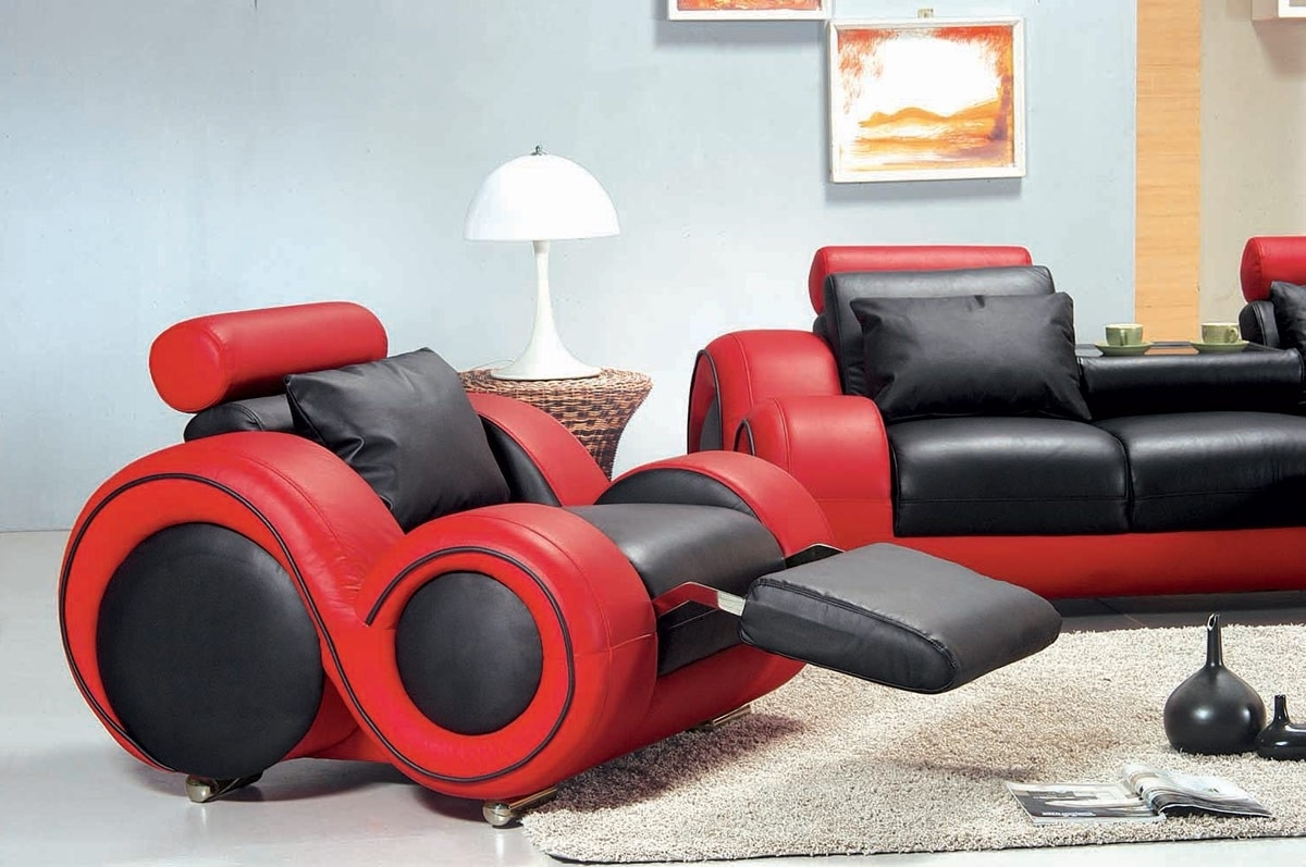 Best And Newest Red And Black Sofas Within Contemporary Black And Red Sofa Set Gallery Including Furniture (View 19 of 20)