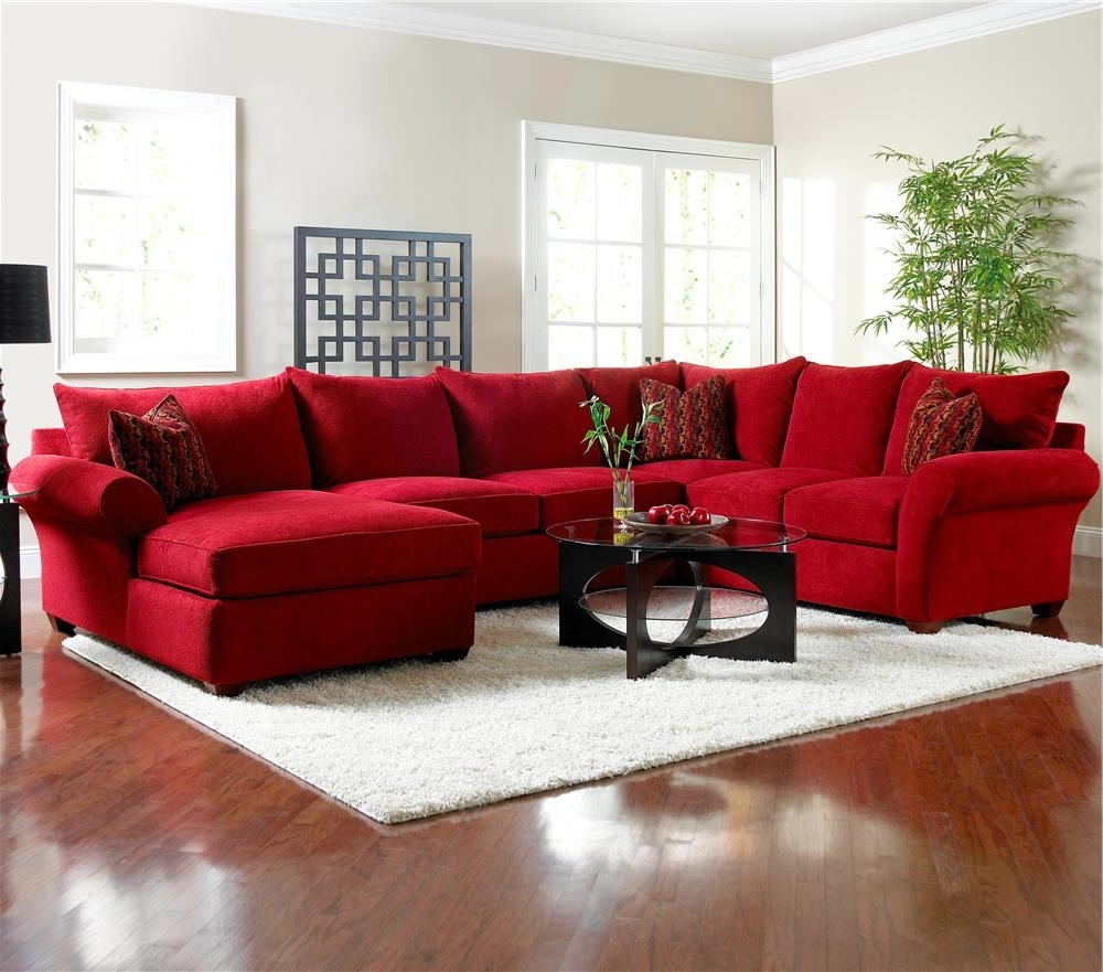 Explore Photos of Red Sectional Sofas With Ottoman (Showing ...