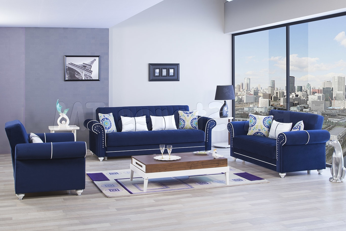 Best And Newest Sale: $249494 Royal Home Sofa Set Riva Dark Blue (3pc) Sofa With Regard To Dark Blue Sofas (Gallery 19 of 20)