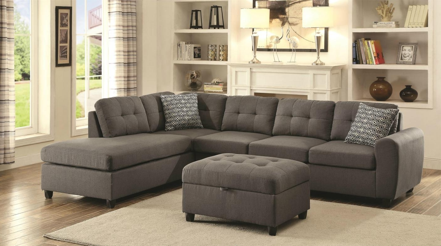 Best And Newest Sectional Sofas Inside Stonenesse Grey Fabric Sectional Sofa – Steal A Sofa Furniture (View 3 of 20)