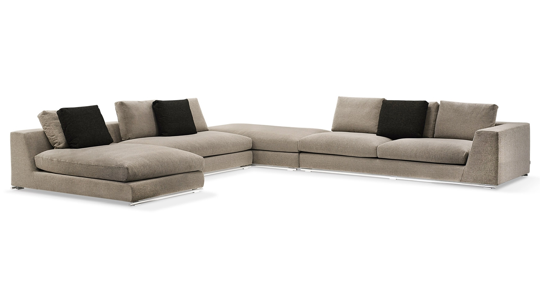 Best And Newest Sectional Sofas With Ottoman Throughout Comodo Sectional Sofa With Ottoman – Grey (View 16 of 20)