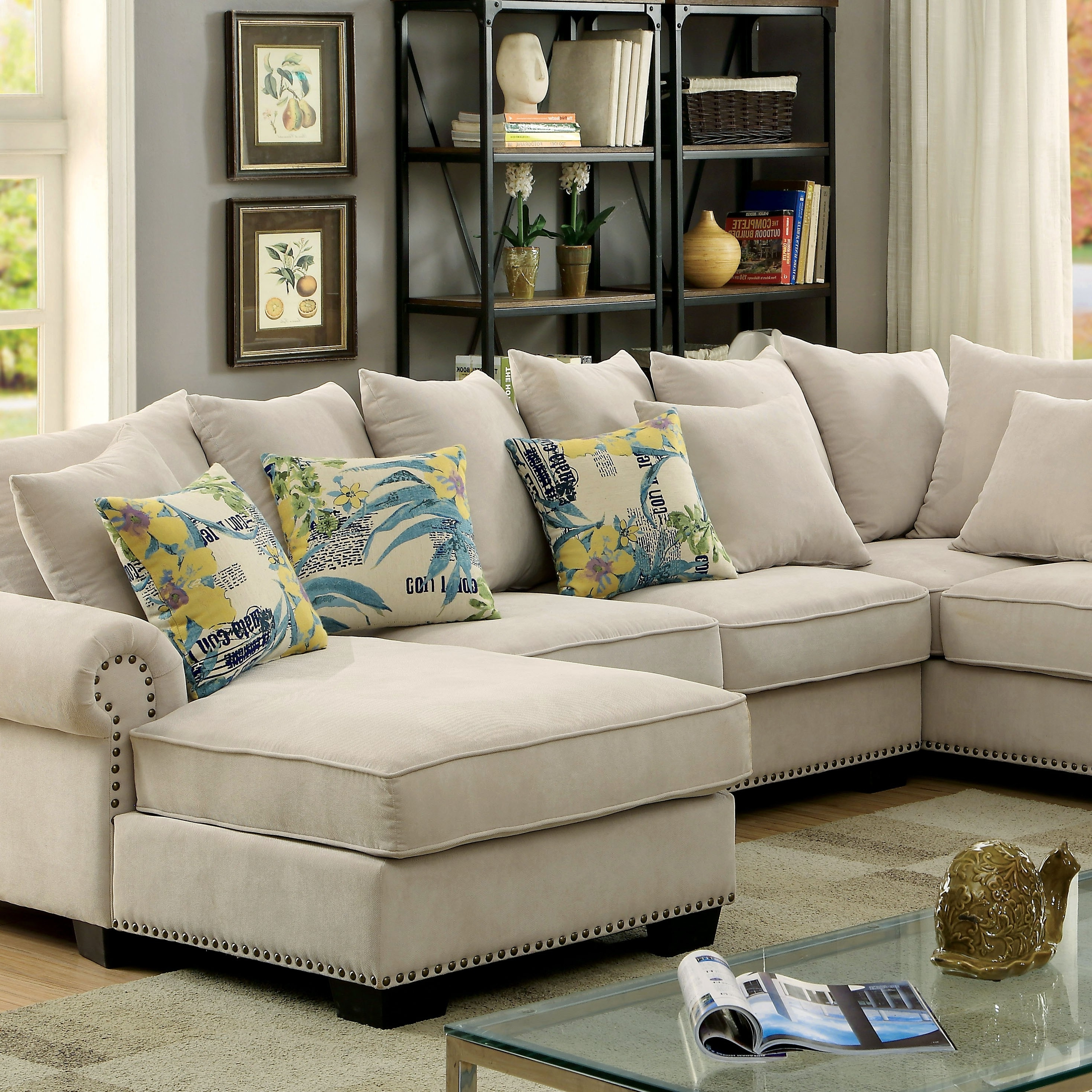 Best And Newest Skyler Transitional Ivory Fabric Sectional Sofa Couch – Shop For With Fabric Sectional Sofas (View 3 of 20)