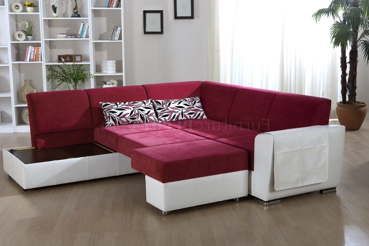 Best And Newest Tone Pink & White Convertible Sectional Sofa W/storage With Regard To Convertible Sectional Sofas (View 3 of 20)