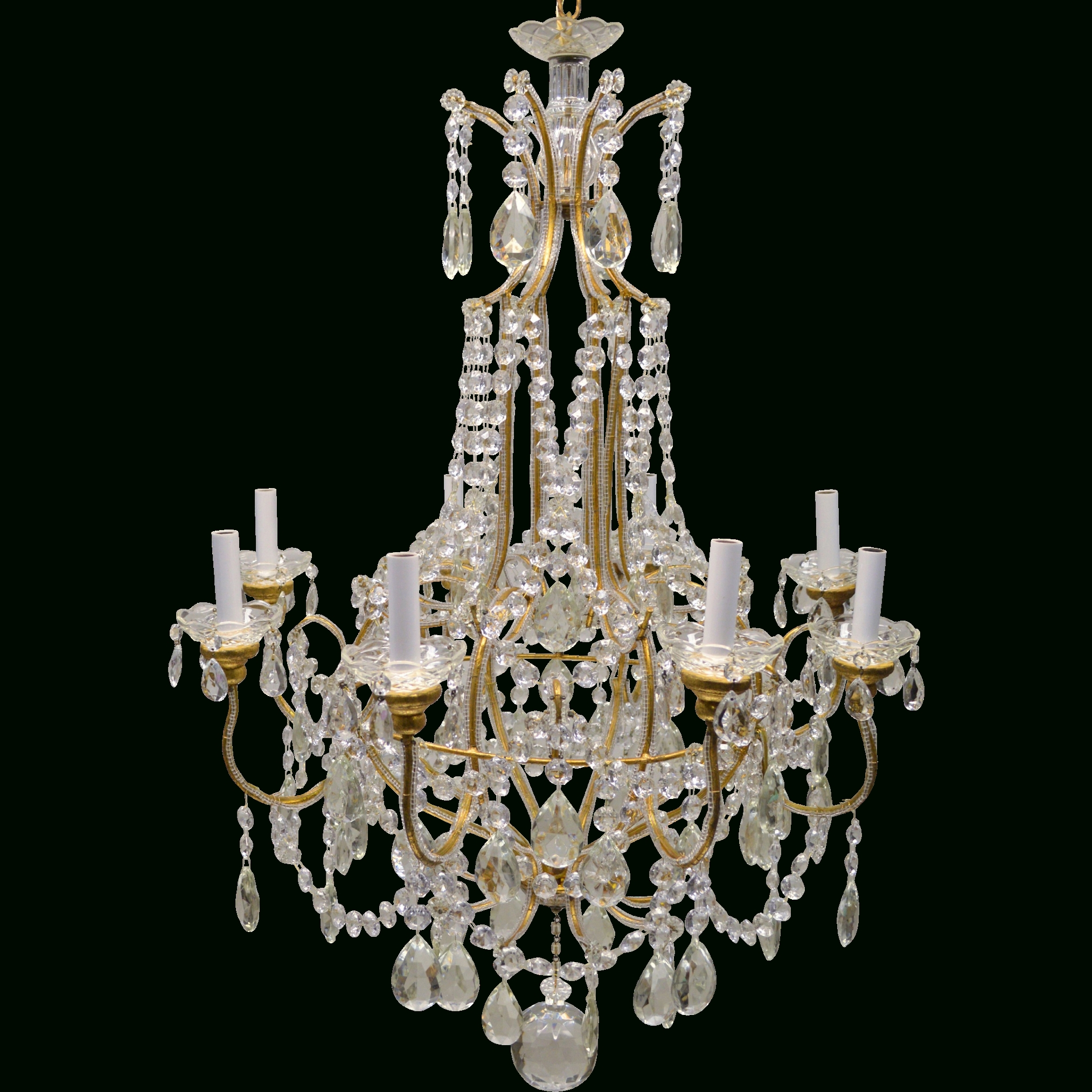 Best And Newest Vintage Italian Chandelier Inside Vintage Italian Gilded Macaroni Beaded Crystal Prism Chandelier – (View 12 of 20)