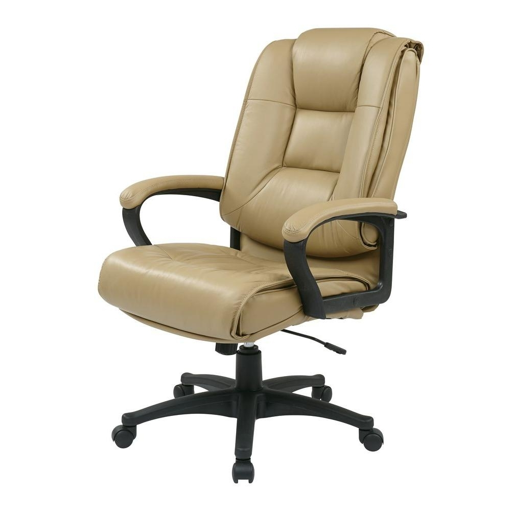 Best And Newest Work Smart Tan Leather High Back Executive Office Chair Ex5162 G11 Inside Tan Brown Mid Back Executive Office Chairs (View 4 of 20)