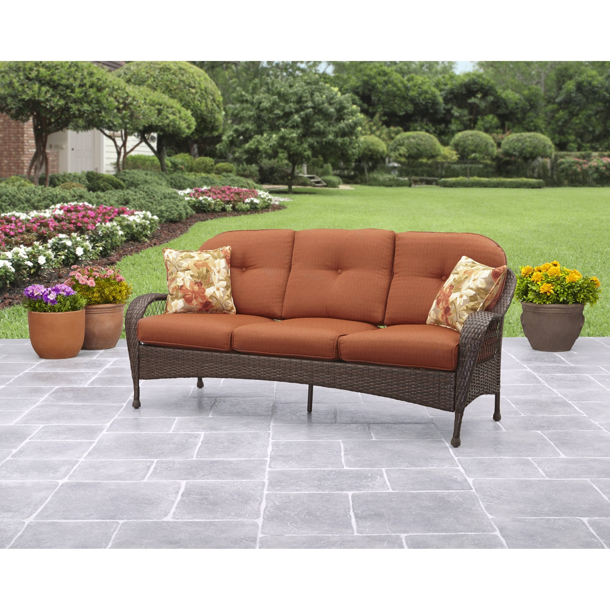 Better Homes And Gardens Azalea Ridge Outdoor Sofa, Seats 3 Regarding Most Recently Released Patio Sofas (View 16 of 20)
