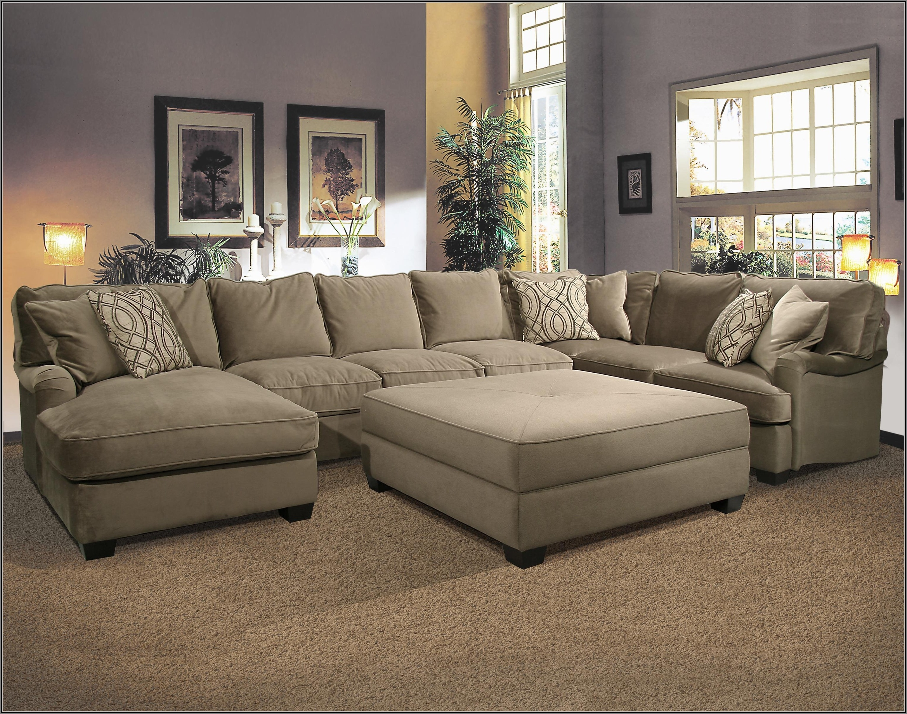 Big U Shaped Sectionals In Current Sectional Sofa With Large Ottoman Hotelsbacau Com Intended For (View 3 of 20)