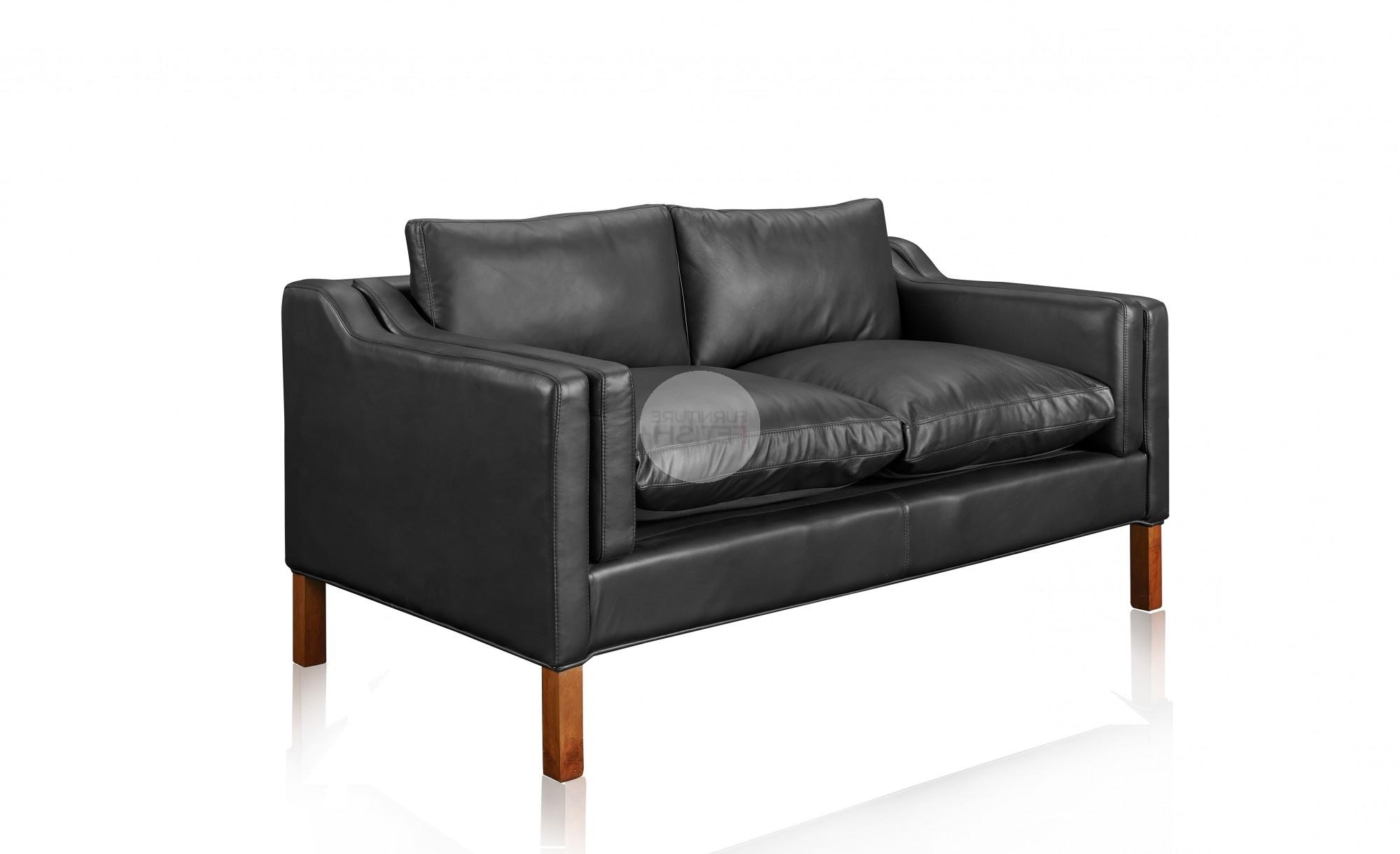 Black 2 Seater Sofas Regarding Most Current Replica Borge Mogensen 2 Seater Sofa – Black Aniline Leather (View 4 of 20)