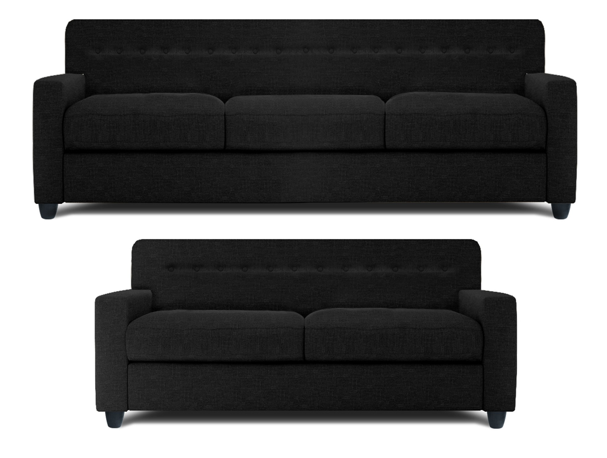 Black 2 Seater Sofas Throughout Most Current Dolphin Solitaire Fabric 3+2 Seater Sofa Set Black (View 5 of 20)