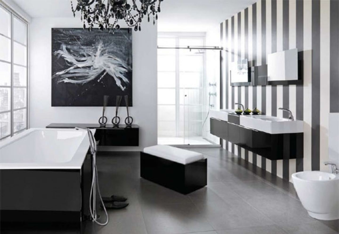 Black And White Bathroom Border Tiles Black White Glossy Finished Pertaining To Well Known Wall Mounted Bathroom Chandeliers (View 2 of 20)