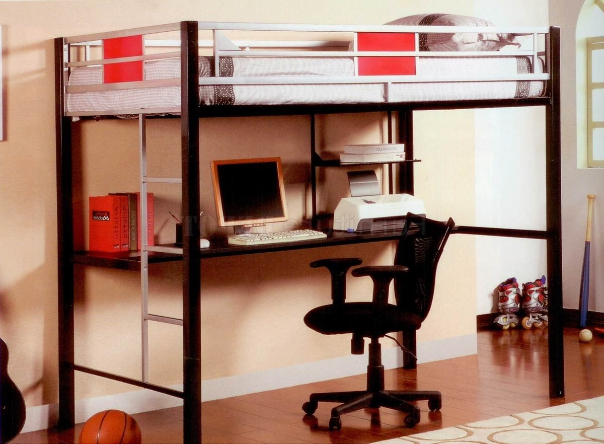 Black And White Metal Loft Bunk Bed With Long Computer Desk Intended For Preferred Computer Desks Under Stairs (View 2 of 20)