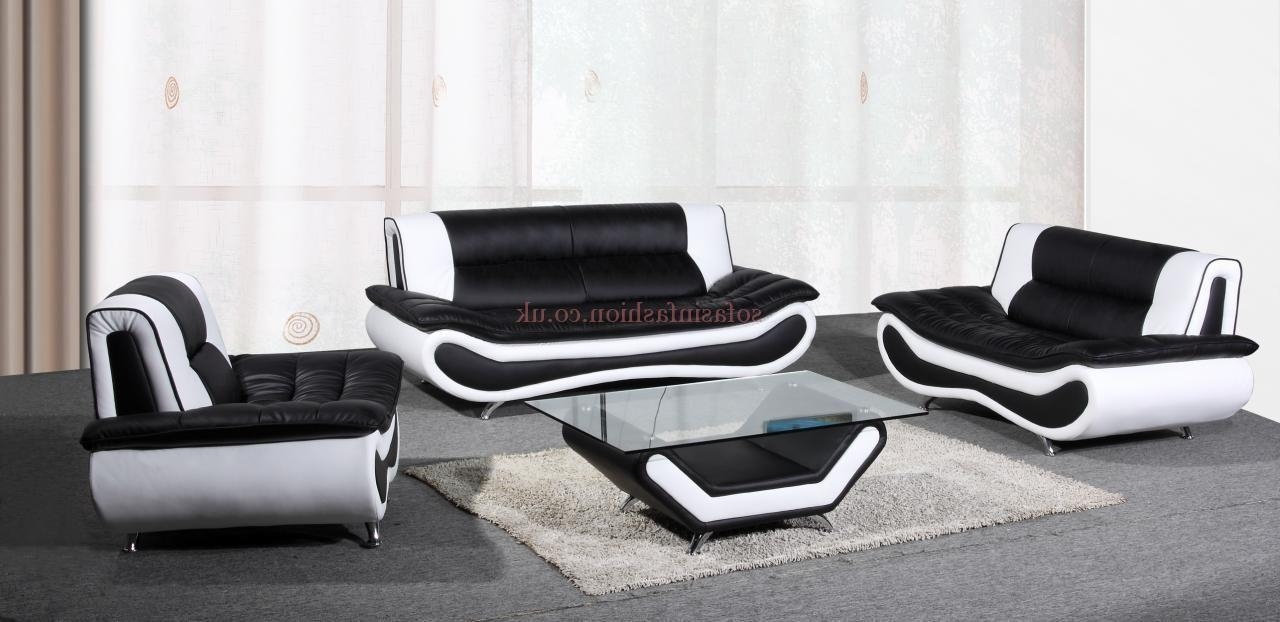 Black And White Sofas In Widely Used 15 Black And White Leather Sofa Set (View 2 of 20)