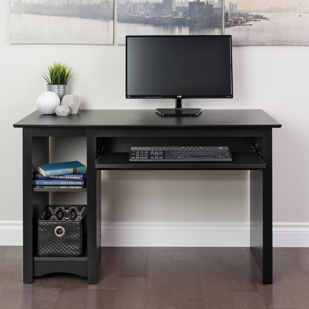 Black Computer Desks Regarding Newest Prepac Black Desk Bdd 2948 – The Home Depot (View 5 of 20)