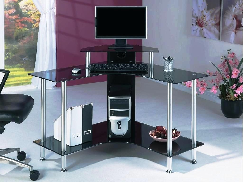 Black Glass Corner Computer Desk : Black Corner Computer Desk Inside 2019 Glass Corner Computer Desks (View 3 of 20)