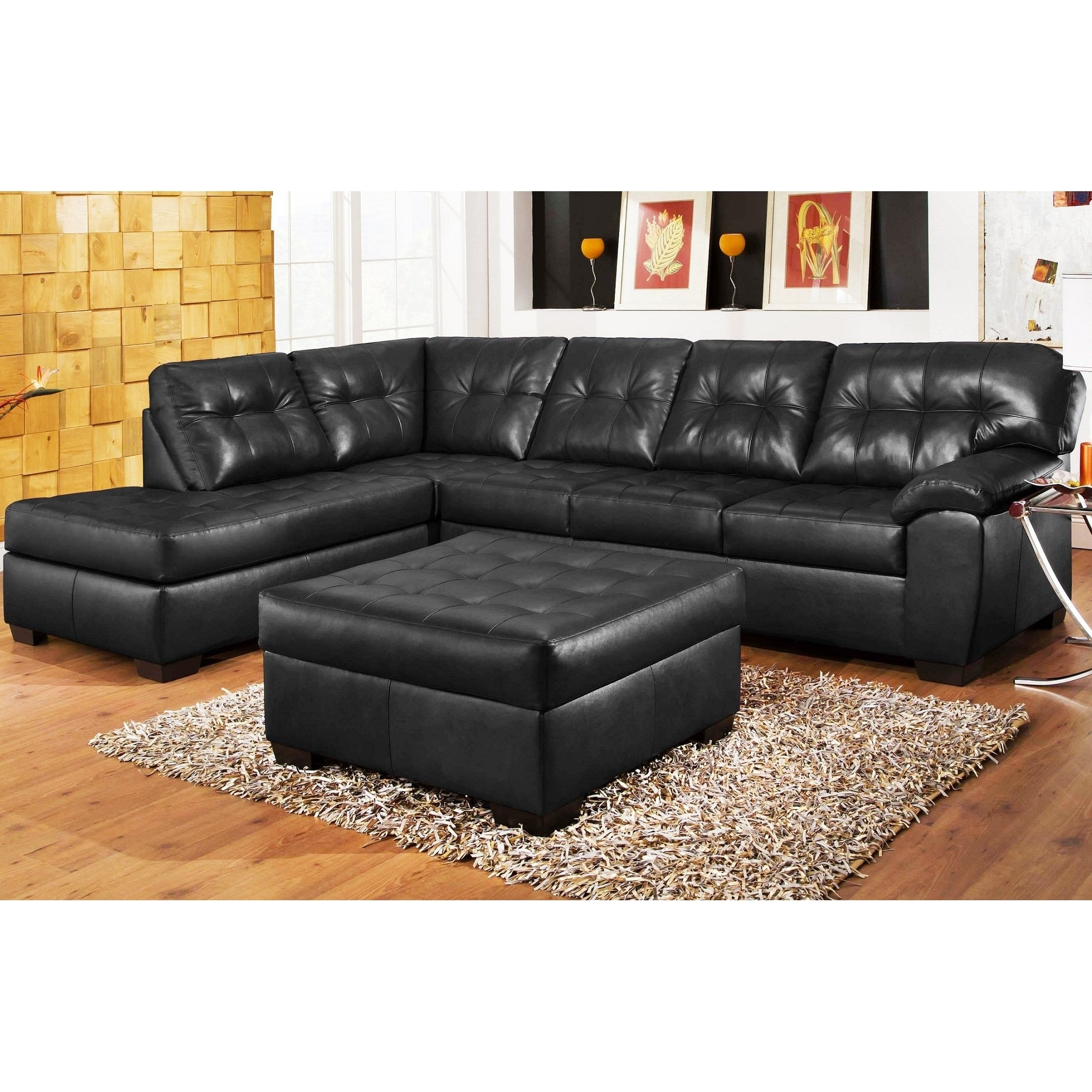 Black Leather Sectionals With Ottoman In Preferred Interesting Black Leather Sectionals With Ottomans – Printableboutique (View 3 of 20)