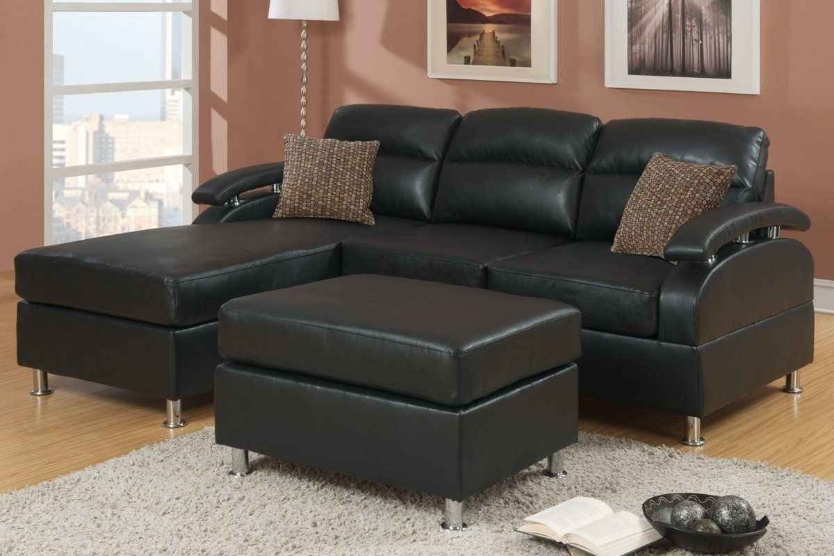Black Leather Sectionals With Ottoman Regarding Preferred Black Bonded Leather Sectional Sofa With Ottoman F7685 Throughout (View 16 of 20)