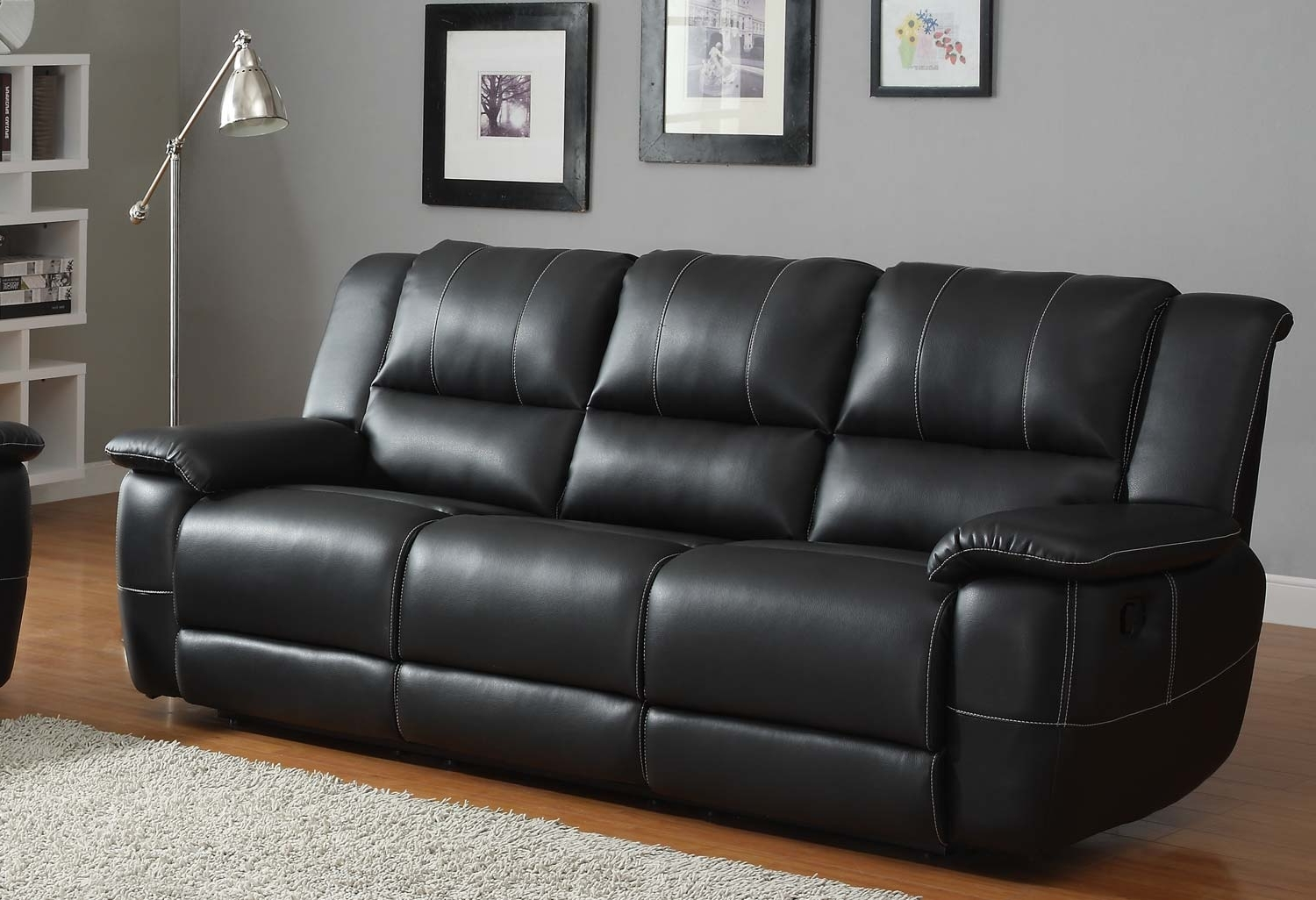 Black Leather Sofa White Leather Contemporary Sectional Sofa With Regard To Current Cheap Black Sofas (View 4 of 20)