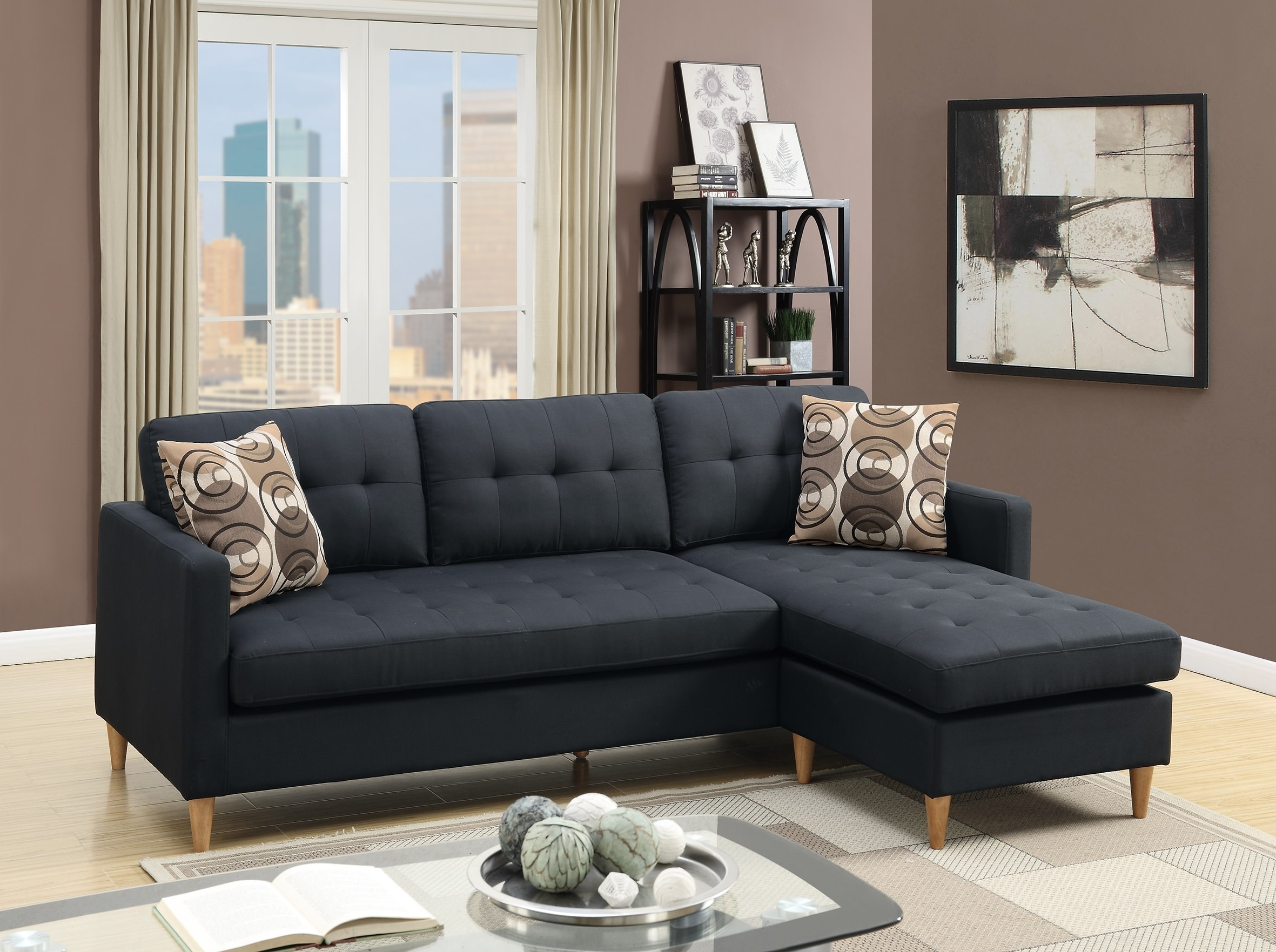 Black Sectional Sofas With Regard To Well Known F7084 Black Sectional Sofapoundex (View 7 of 20)
