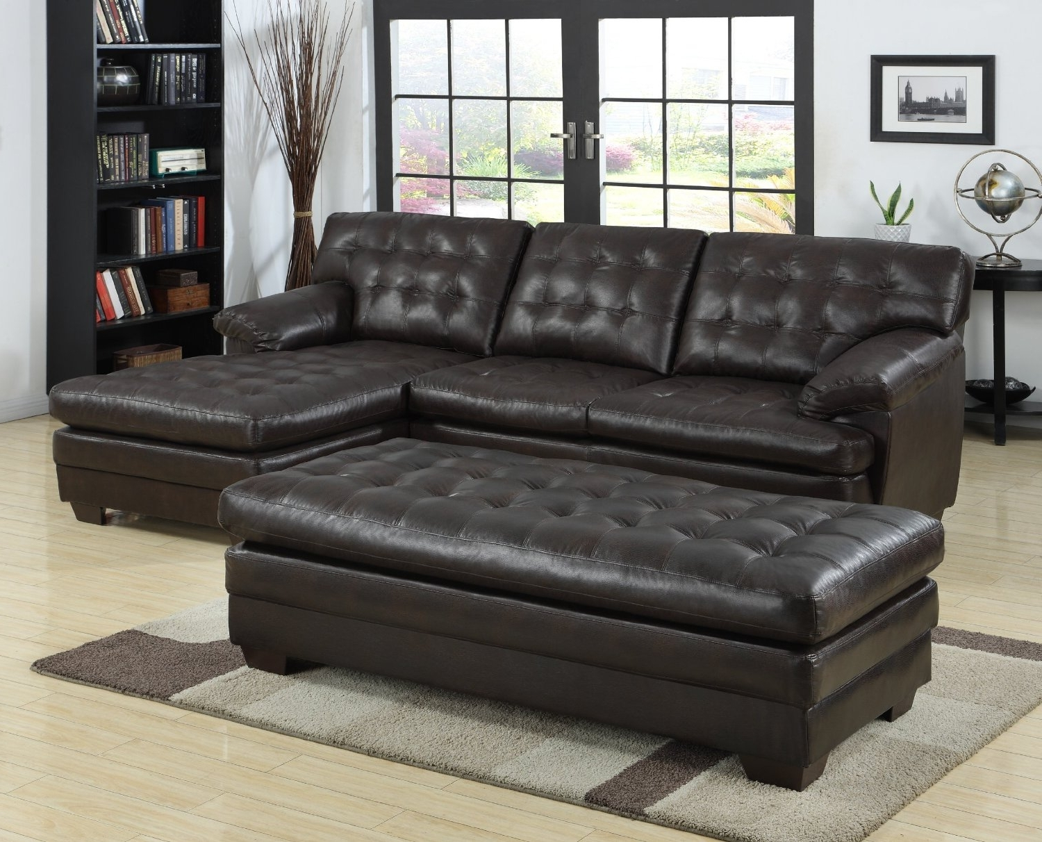 Black Tufted Leather Sectional Sofa With Chaise And Bench Seat Within Famous Sectional Sofas With Chaise Lounge And Ottoman (View 5 of 20)