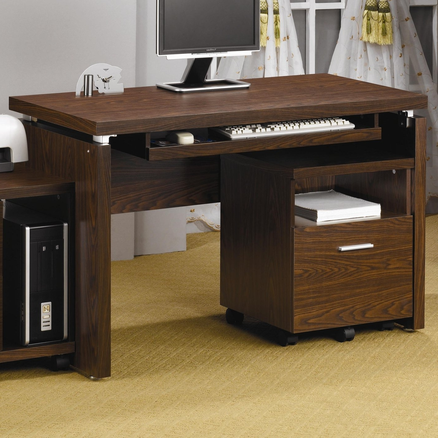 Black Wood Computer Desk – Steal A Sofa Furniture Outlet Los Intended For Most Current Computer Desks (View 8 of 20)