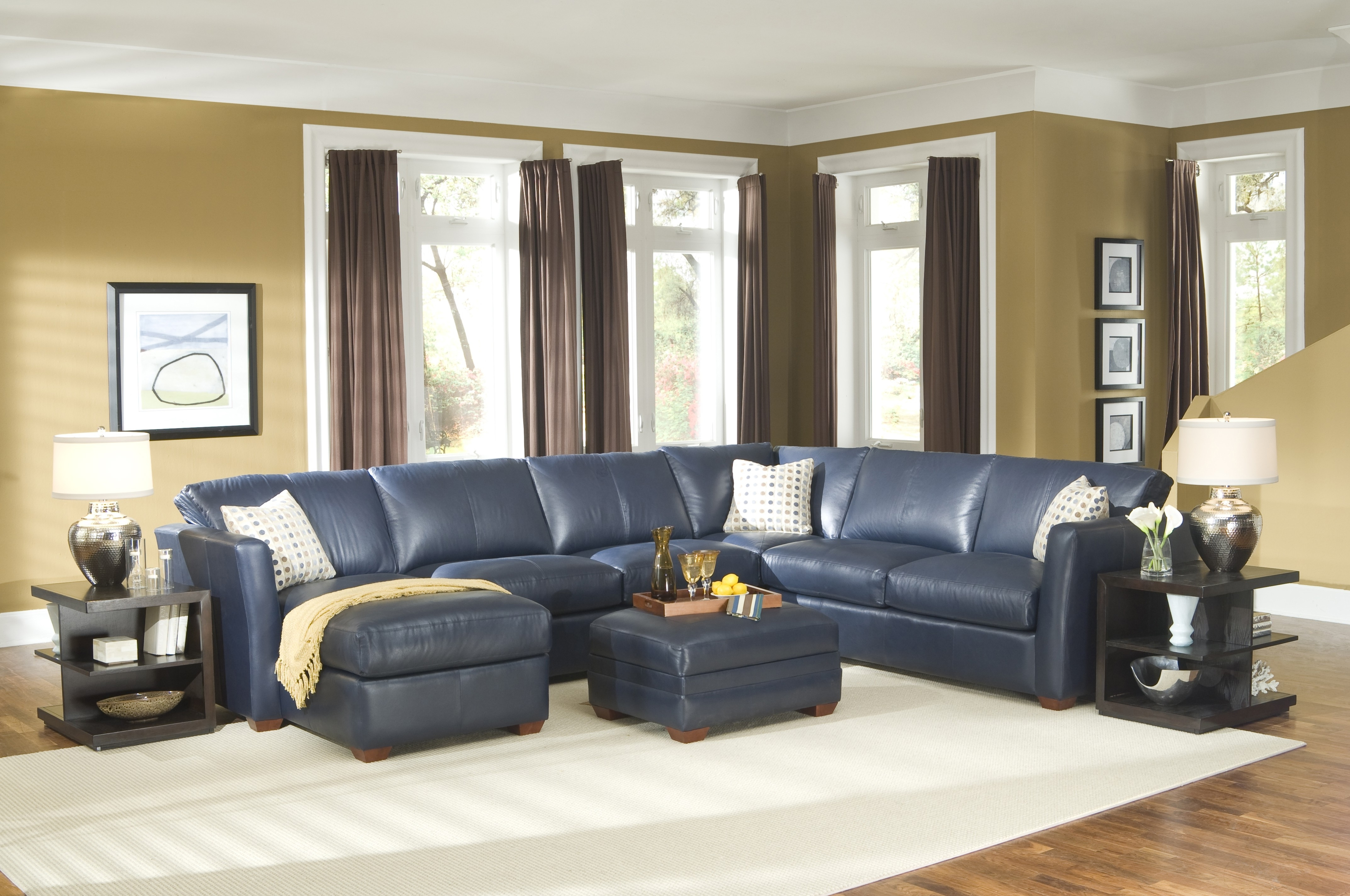 Blue Leather Sectional Sofa And White Cushions Addedsquare In Favorite Black Leather Sectionals With Ottoman (View 7 of 20)
