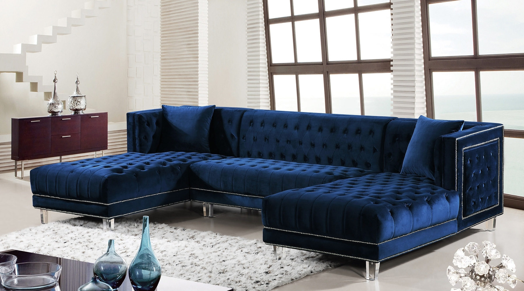 Blue Sectional Sofas Within Well Liked Moda Blue Sectional Sofa 631 Meridian Furniture Sectional Sofas At (Gallery 1 of 20)