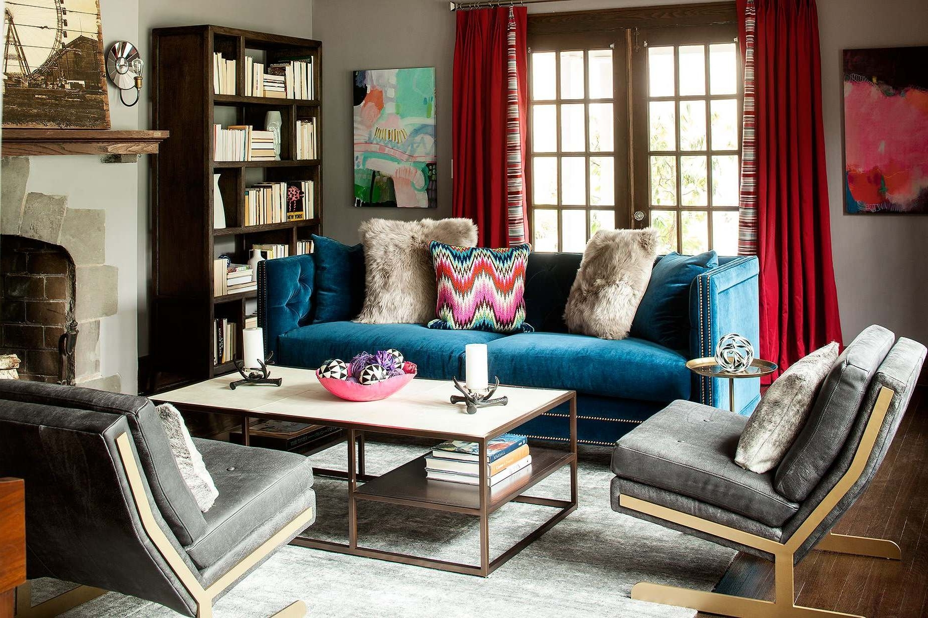 Blue Sofa Chairs In Recent Mid Century Velvet Blue Tuxedo Sofa Rectangle Iron Framed Coffee (View 13 of 20)
