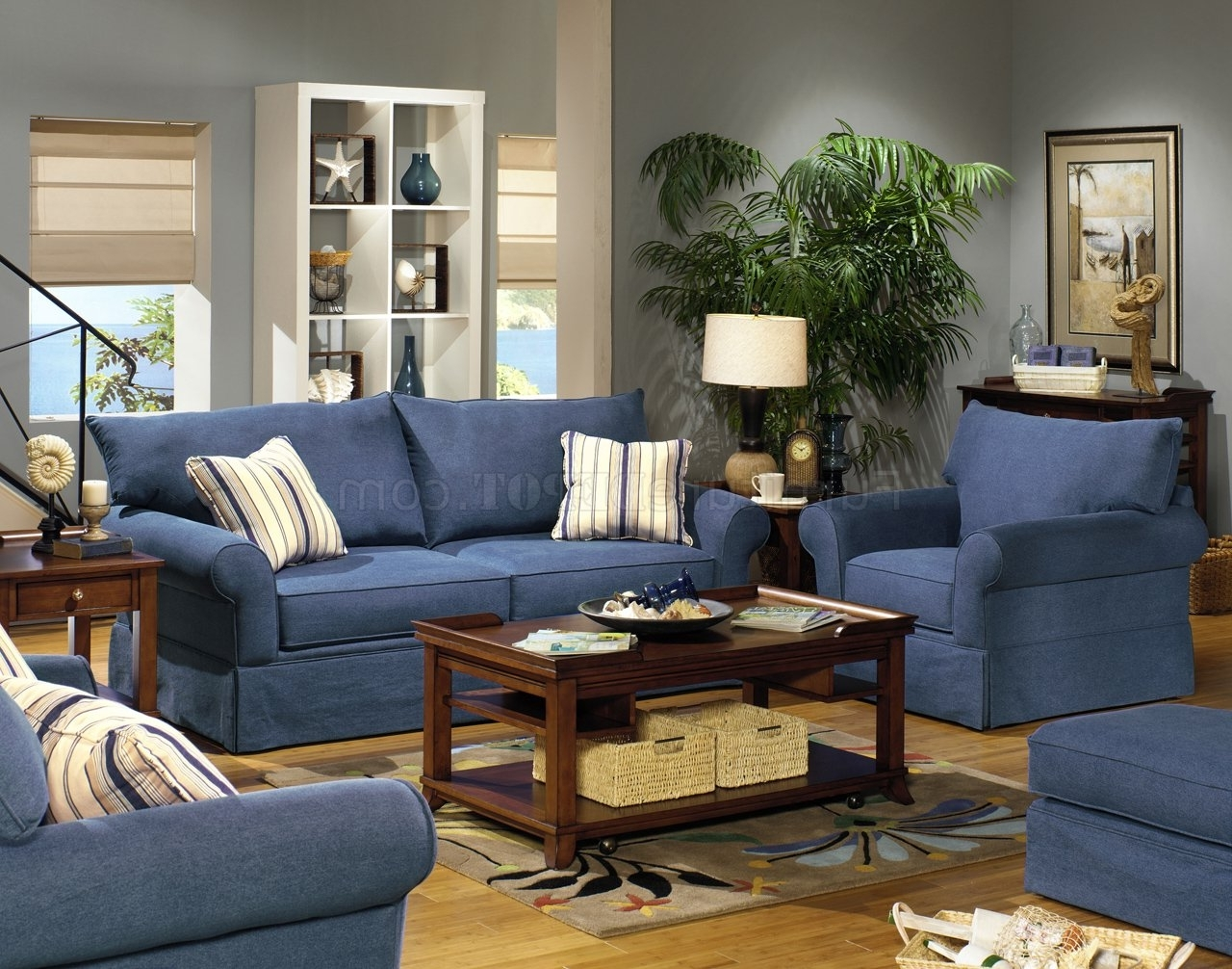 Blue Sofa Chairs Intended For Widely Used Blue Denim Fabric Modern Sofa & Loveseat Set W/options (View 5 of 20)