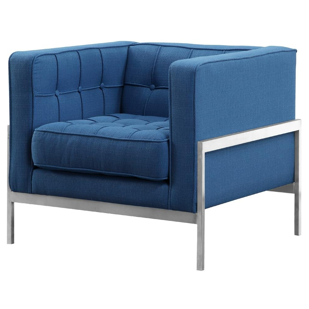 Blue Sofa Chairs Regarding Famous Andre Armen Living Blue Fabric Contemporary Sofa Chair In Brushed (View 15 of 20)