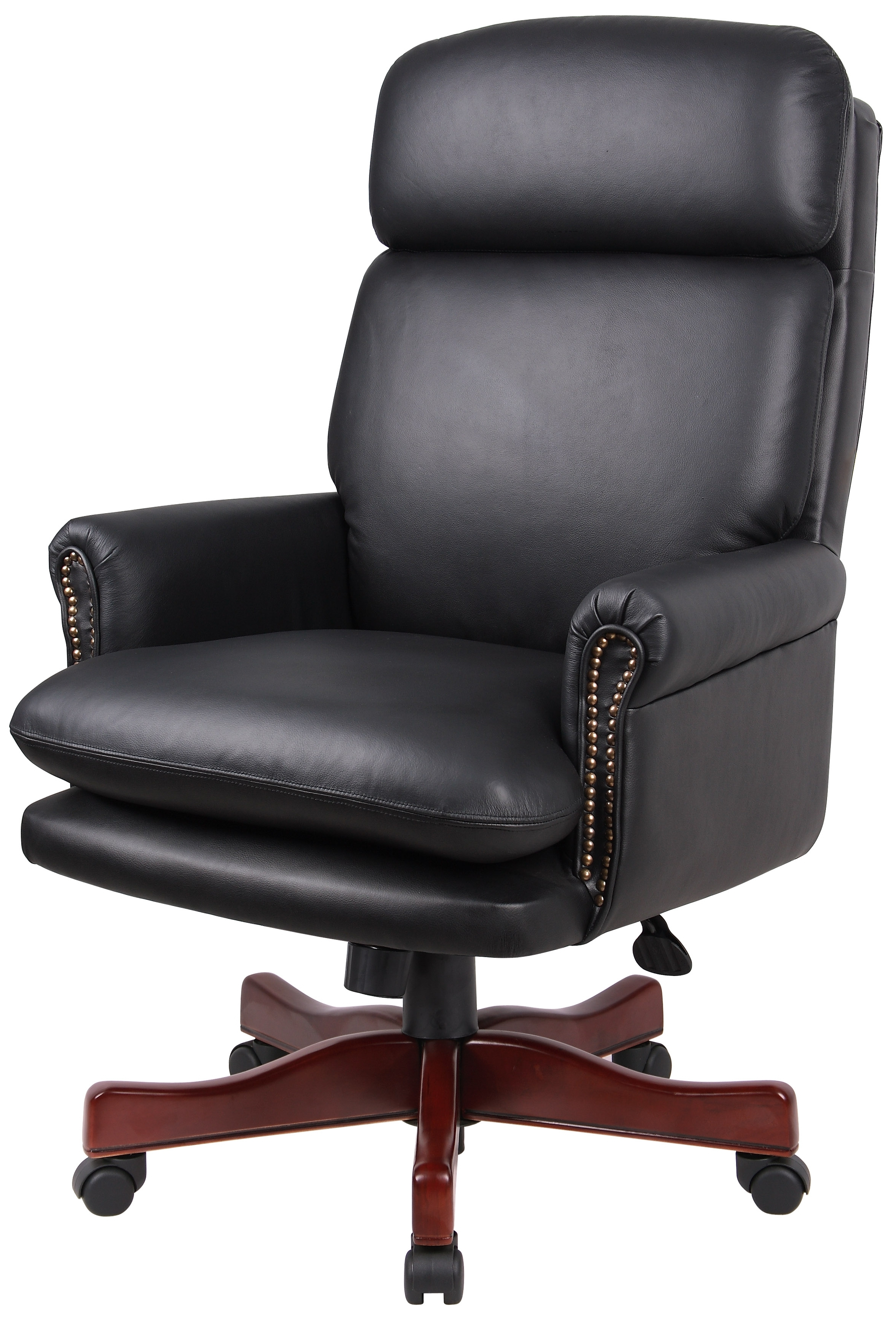Boss Leather Executive Chair B850 Bk With Most Popular Nailhead Executive Office Chairs (View 1 of 20)