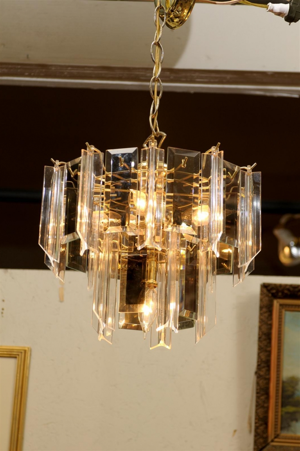 Brass Beveled Glass Chandelier – Chandelier Designs Intended For 2019 Smoked Glass Chandelier (View 4 of 20)