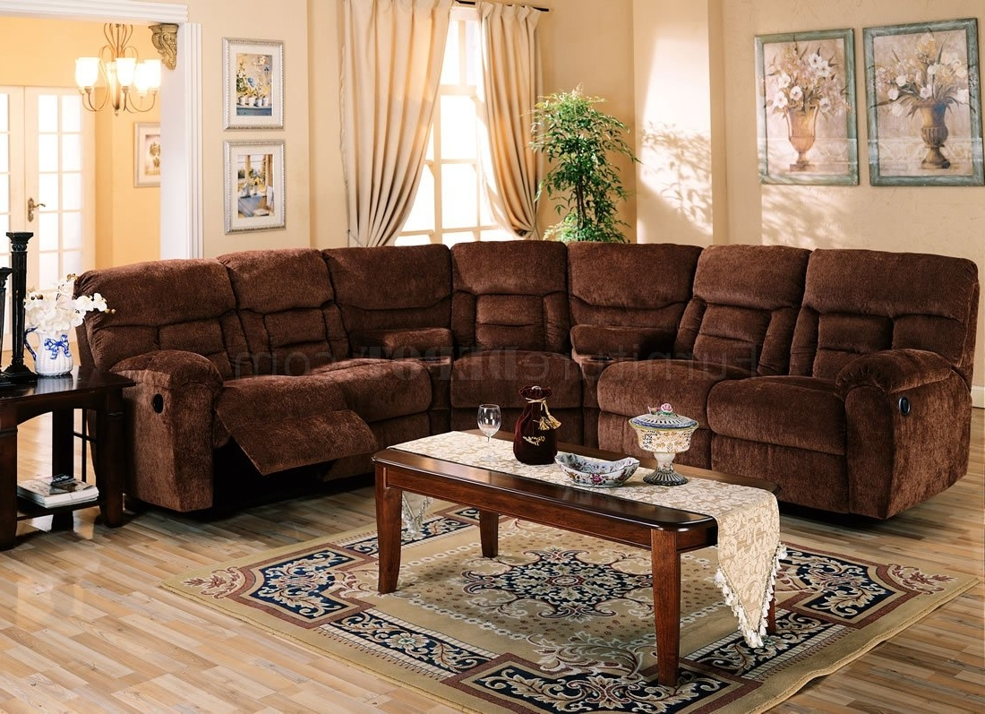 Brown Chennile Fabric Sectional Sofa W/recliner Seat With Newest El Dorado Sectional Sofas (View 1 of 20)