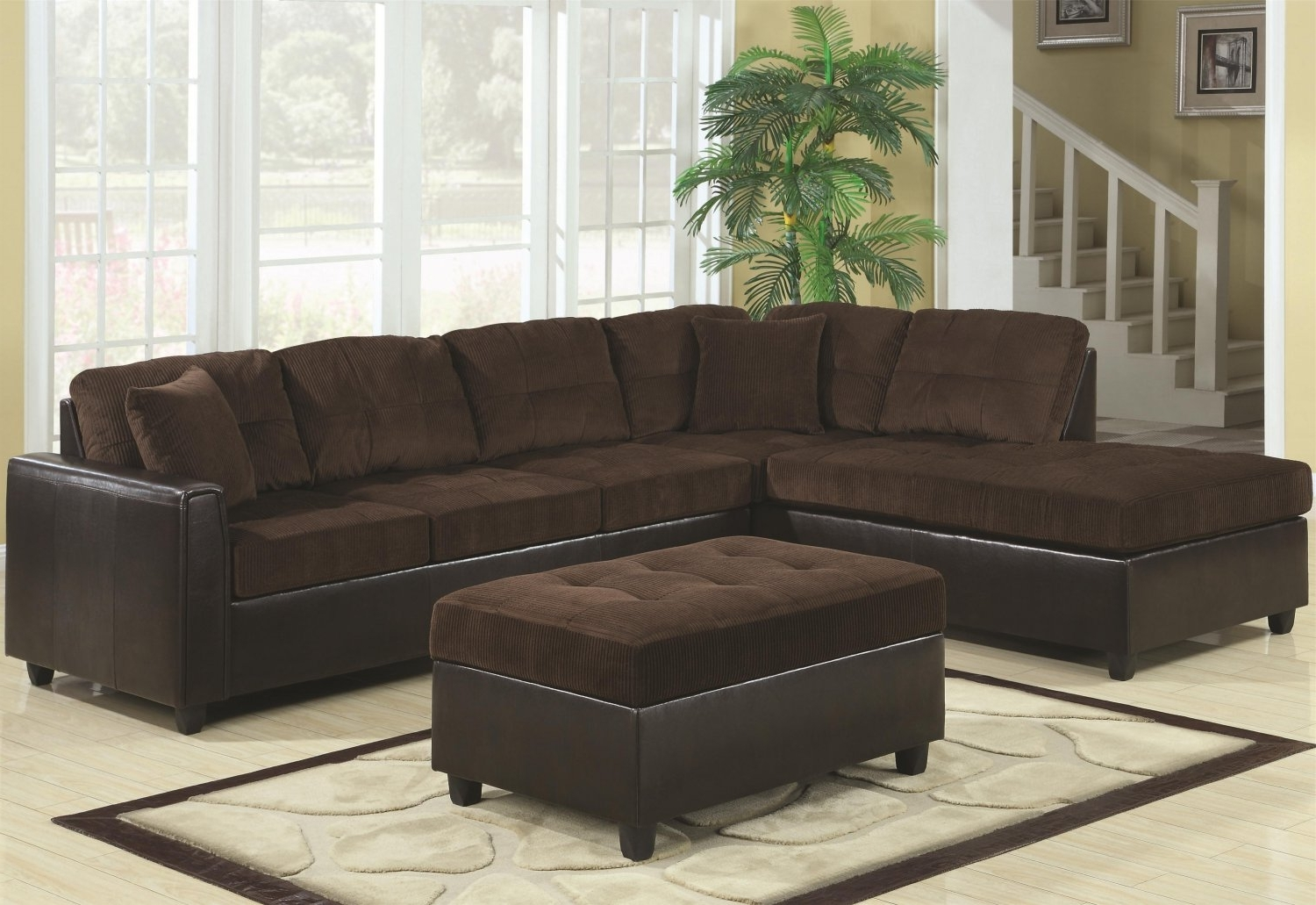 Brown L Shaped Sectional Couch With Black Leather Base And Gray Throughout 2018 Leather L Shaped Sectional Sofas (View 14 of 20)