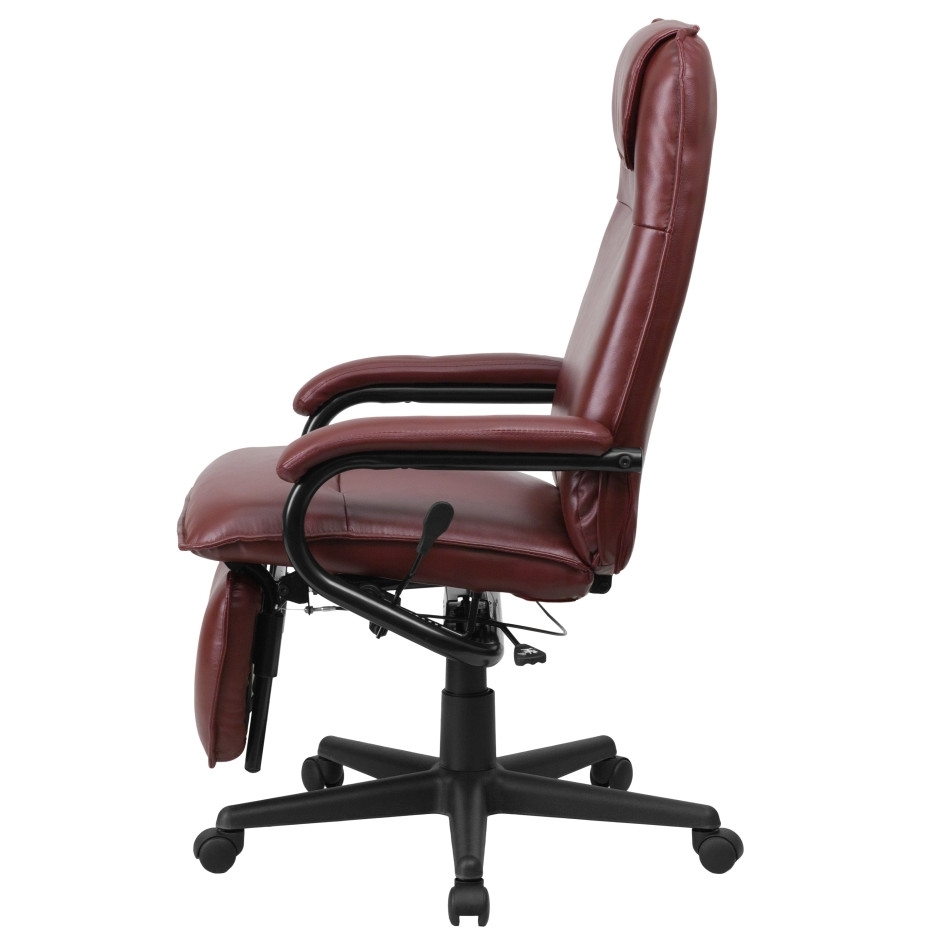 Brown Leather Executive Desk Chair With Footrest And Height Back Regarding Most Popular Executive Office Chairs With Leg Rest (View 20 of 20)