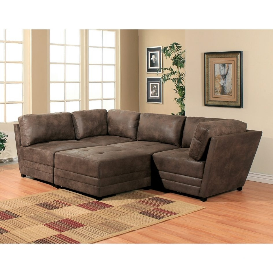 Brown Leather Modular Sectional Sofa With Cozy Carpet Tiles On Regarding Newest Modular Sectional Sofas (View 15 of 20)