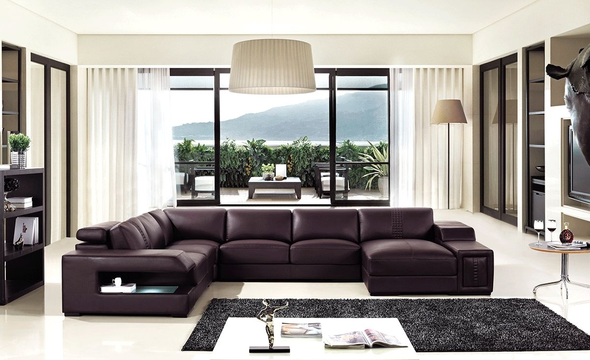 Brown Leather Sectional Sofa With Built In Coffee Table And Lights With Well Known Sectional Sofas At Charlotte Nc (View 8 of 20)