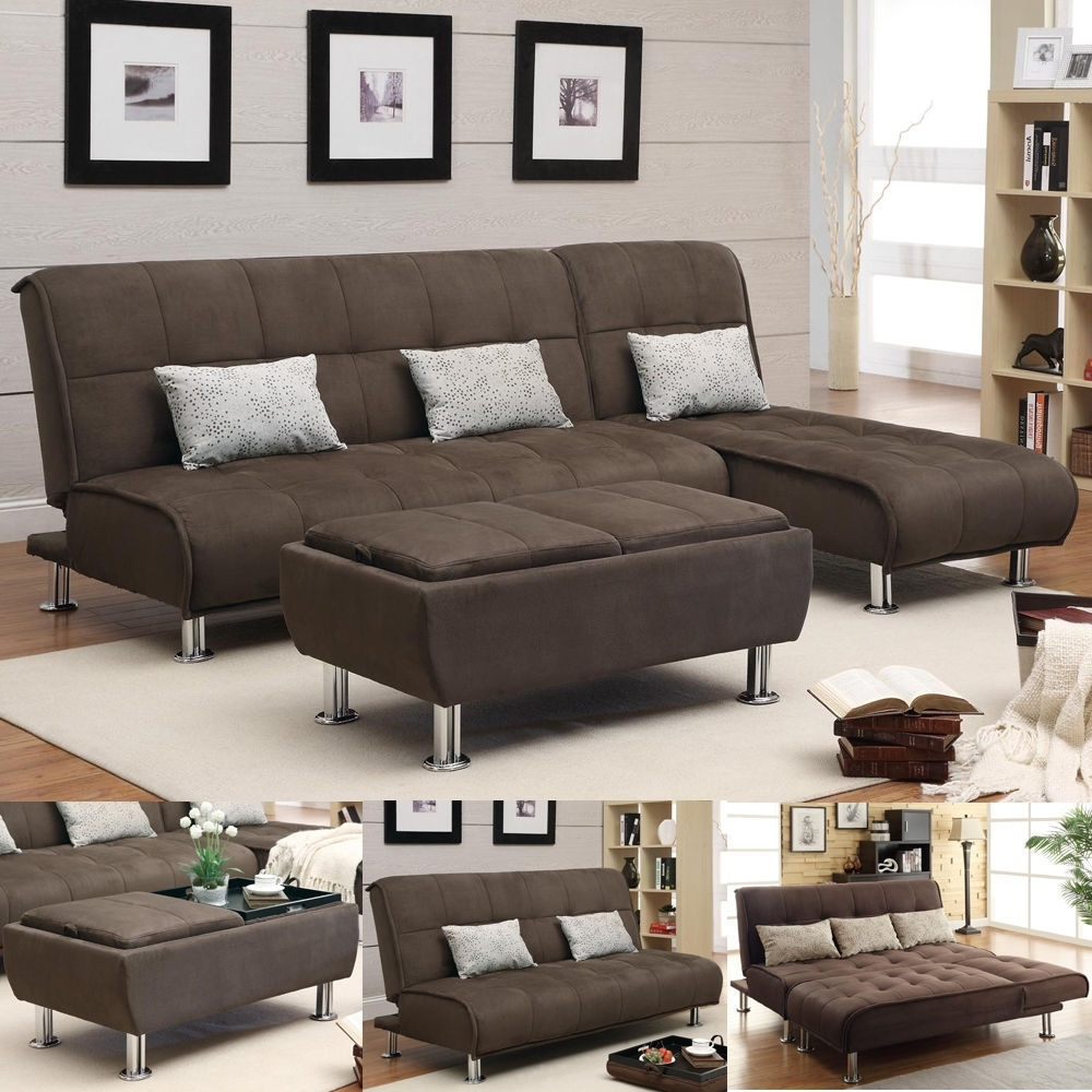 Brown Microfiber 3 Pc Sectional Sofa Futon Couch Chaise Bed Regarding Most Recent Sectional Sleeper Sofas With Ottoman (View 6 of 20)