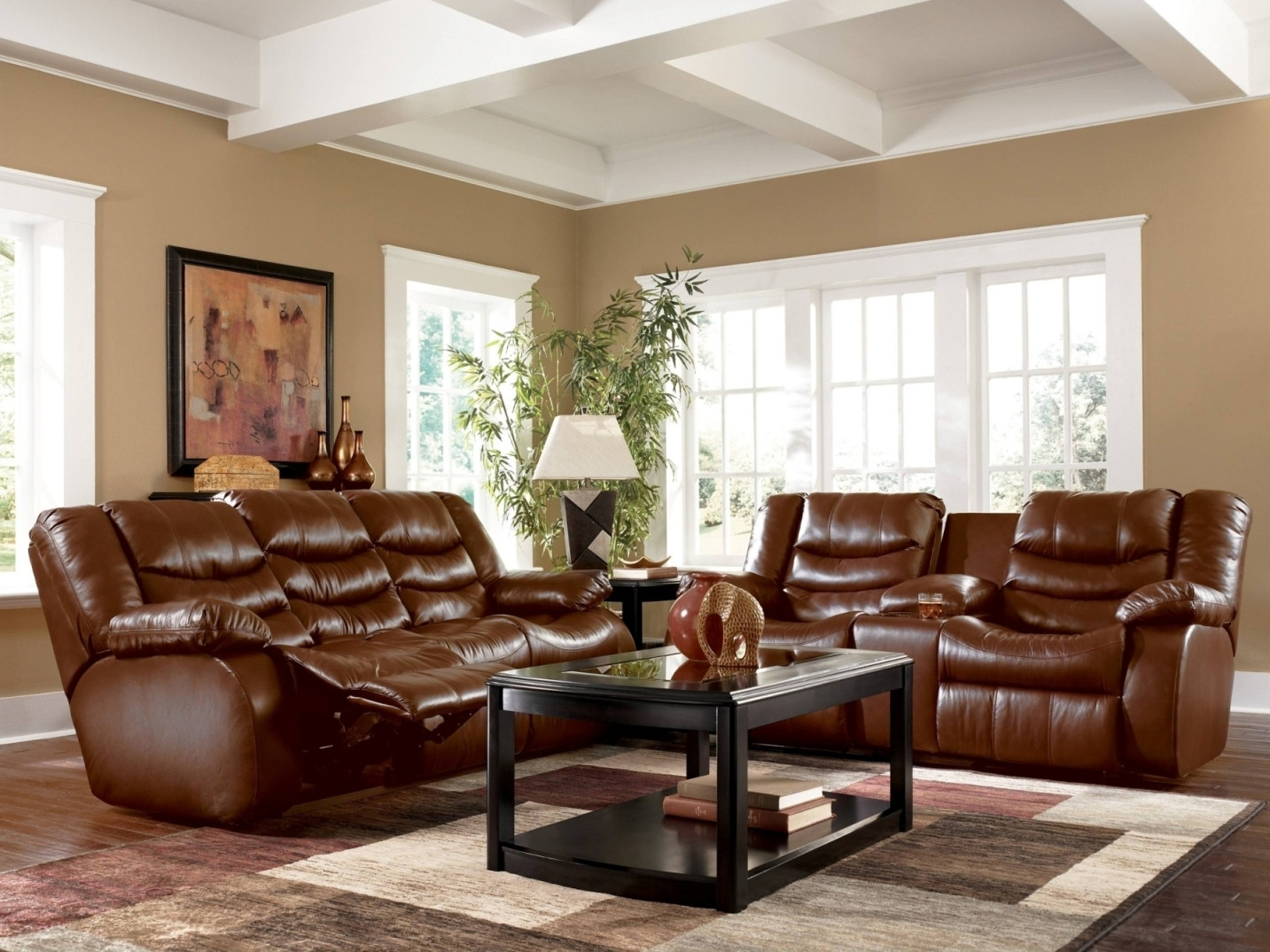 Brown Sofa Chairs Pertaining To Trendy Alluring Living Room Colors For Brown Couch Chairs White Shelves (View 9 of 20)