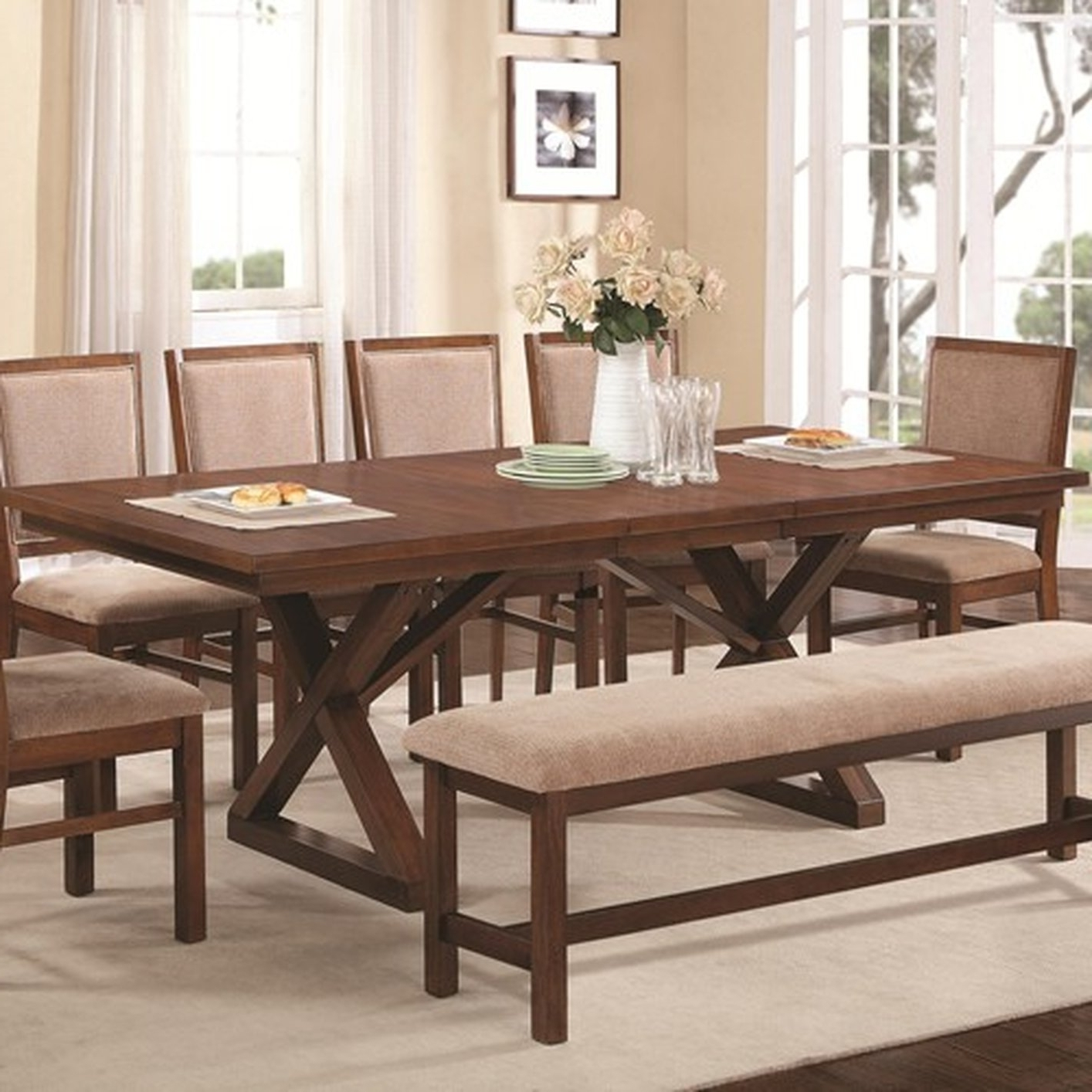 Brown Wood Dining Table – Steal A Sofa Furniture Outlet Los Angeles Ca In Popular Sofa Chairs With Dining Table (View 6 of 20)