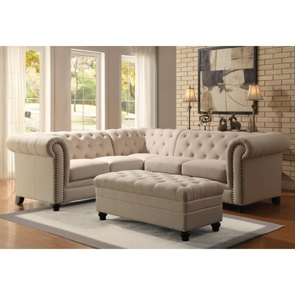 Button Tufted Sectional Sofa With Most Popular Tufted Sectional Sofas (View 3 of 20)