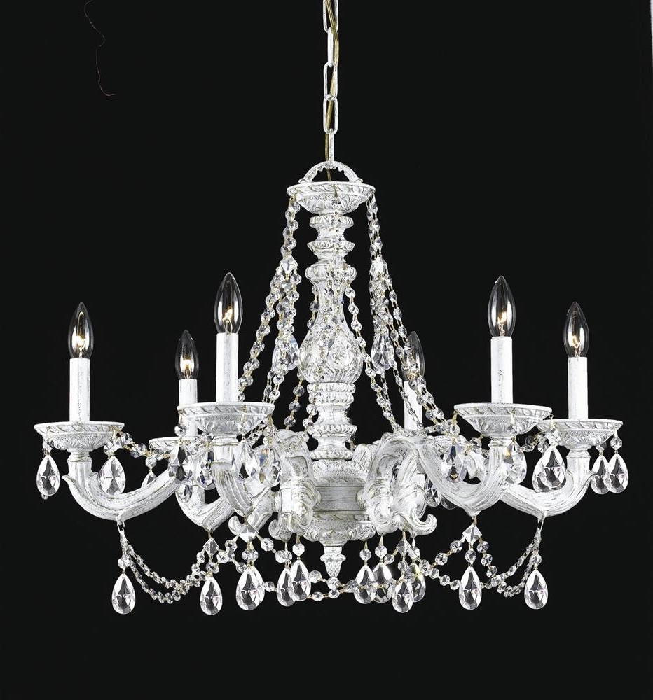 Buy 6 Lights Antique White Spectra Crystal Chandelier Throughout Trendy White And Crystal Chandeliers (View 11 of 20)