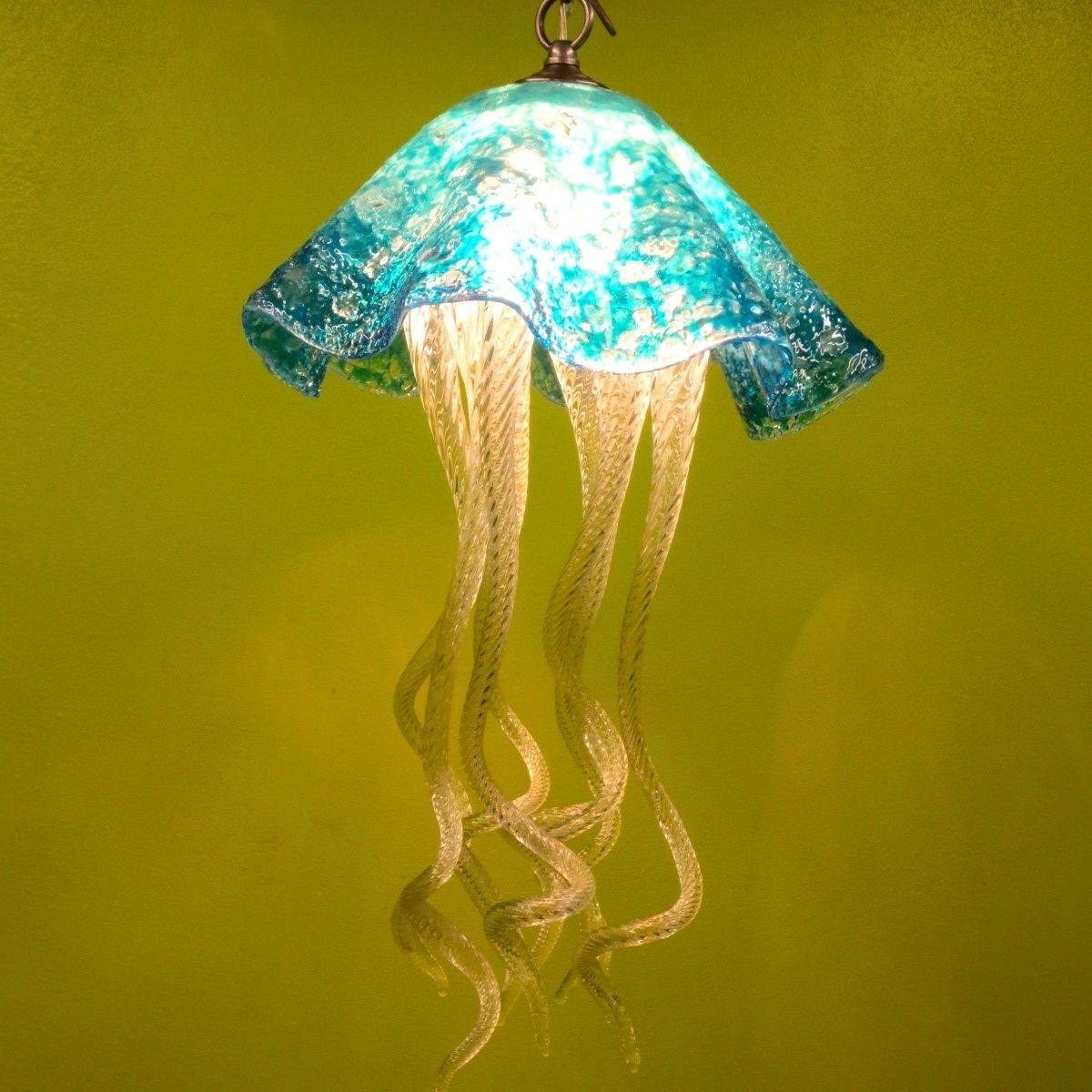 Buy A Hand Made Jellyfish Pendant Light – Turquoise Jellyfish Pertaining To Favorite Turquoise Crystal Chandelier Lights (View 4 of 20)
