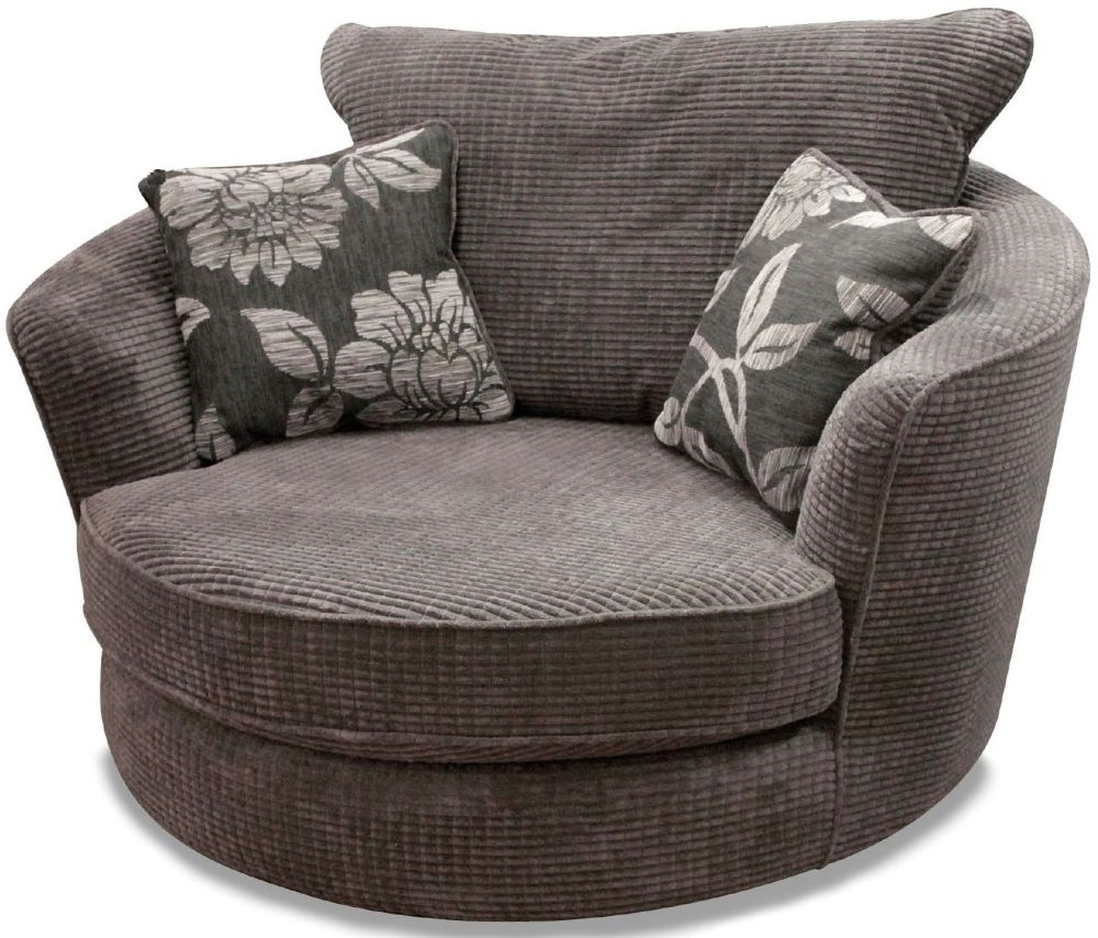 Buy Buoyant Paris Lush Charcoal Fabric Snuggle Swivel Chair With Inside Most Recent Cuddler Swivel Sofa Chairs (View 15 of 20)