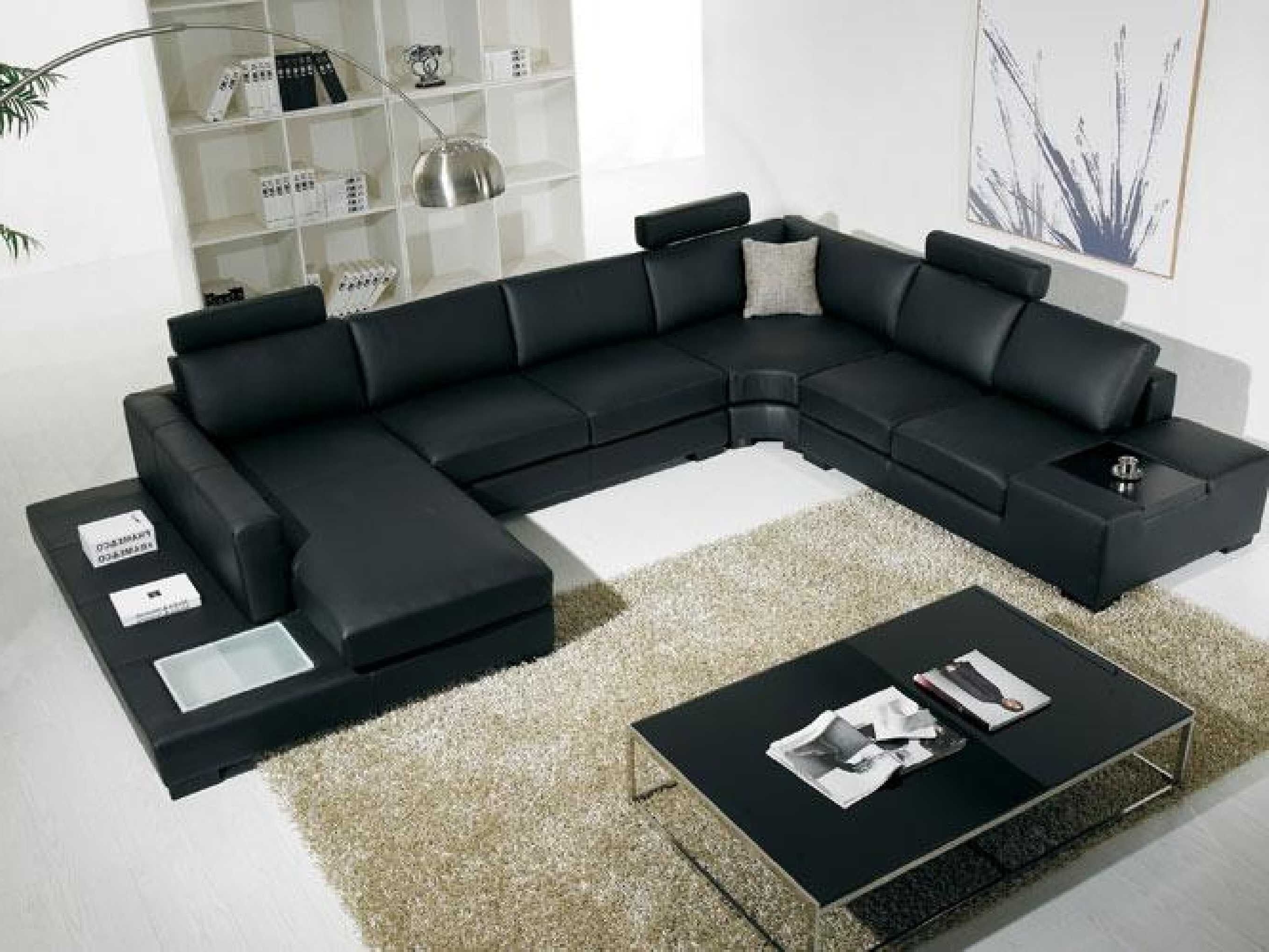 C Shaped Sofas Pertaining To Current Black Modern Sectional Sofa With End Table Corner – Http (View 8 of 20)