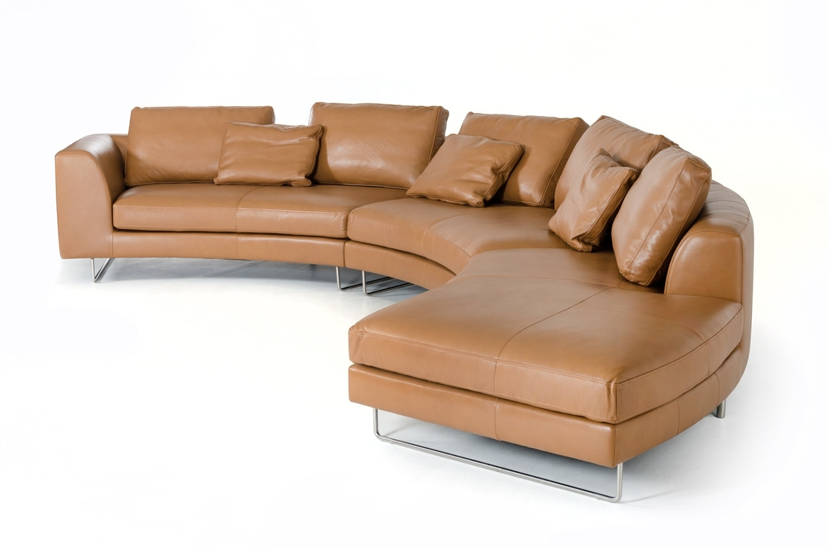 Camel Colored Sectional Sofas For Most Up To Date Divani Casa Tulip Modern Camel Full Leather Sectional Sofa (View 6 of 20)