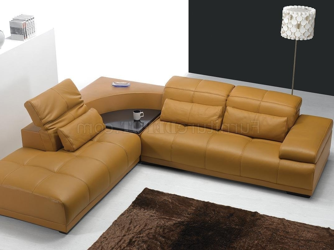 Camel Leather Modern Sectional Sofa 697 Intended For Newest Camel Sectional Sofas (View 8 of 20)