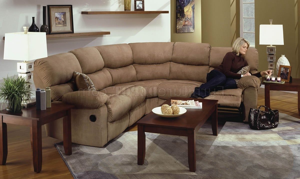 Camel Microfiber Reclining Sectional Sofa W/throw Pillows Regarding Trendy Sectional Sofas With Recliners (View 7 of 20)