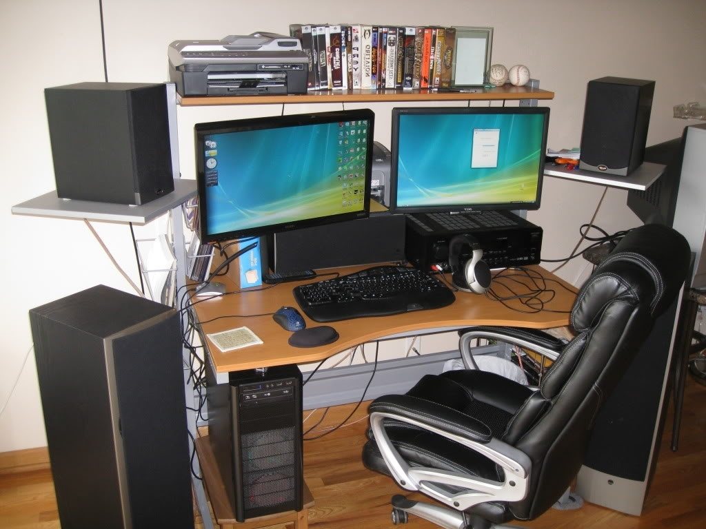 Canadian Podcast Buffet » Affordable Desks For Computers With Dual In Fashionable Computer Desks For Two Monitors (View 3 of 20)