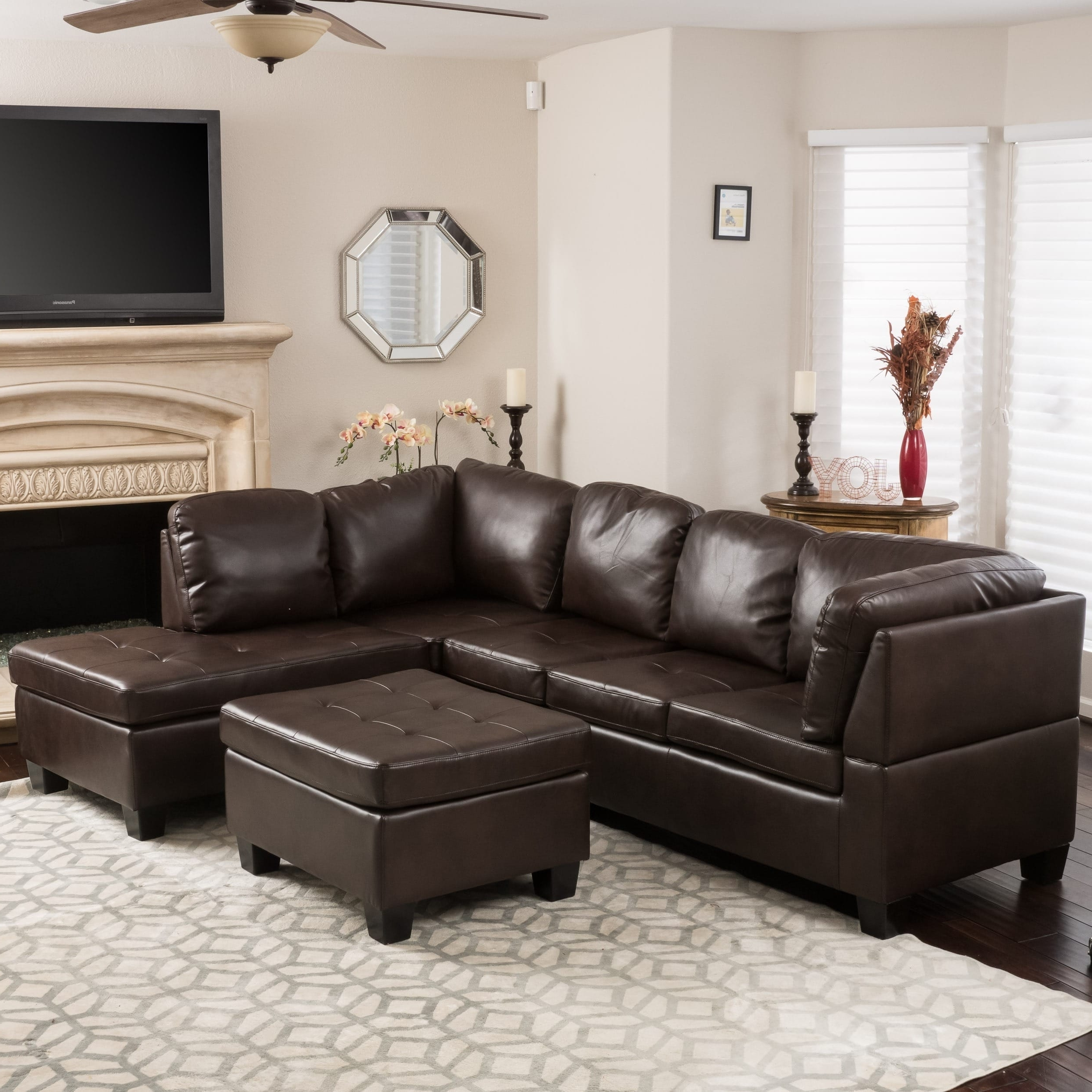 Canterbury 3 Piece Pu Leather Sectional Sofa Setchristopher With Regard To Most Popular Leather Sectional Sofas (View 17 of 20)