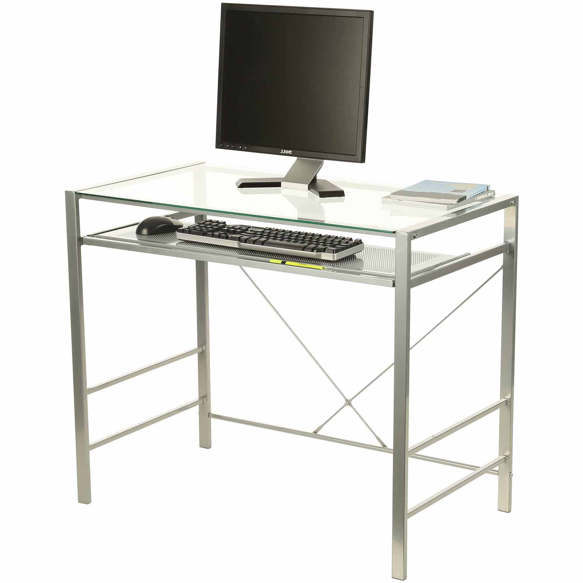 Capri Glass And Metal Desk, Silver – Walmart Inside Most Recent Glass And Metal Computer Desks (View 4 of 20)